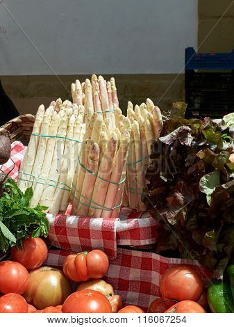 White Asparagus In A Market.