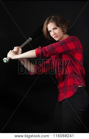Model Red Flannel Shirt Swinging Baseball Bat