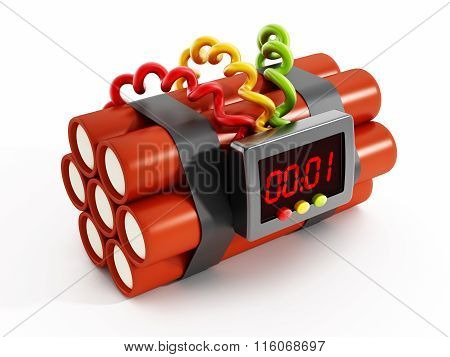 Dynamites with electronic timer set to one second