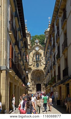 Nagusia Street And The Basilica Of Saint Mary Of Coro. Donostia.