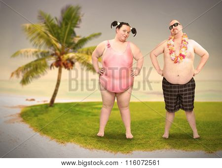 Obese couple in swimsuit with tropical flowers enjoying holidays on caribbean beach. Funny people sending greeting from tropical paradise. Warm filtered picture.