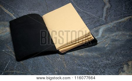 Open Blank Leather Bound Diary