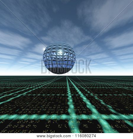 Grid Cloud Horizon Glass Sphere