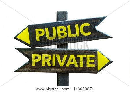 Public - Private signpost isolated on white background