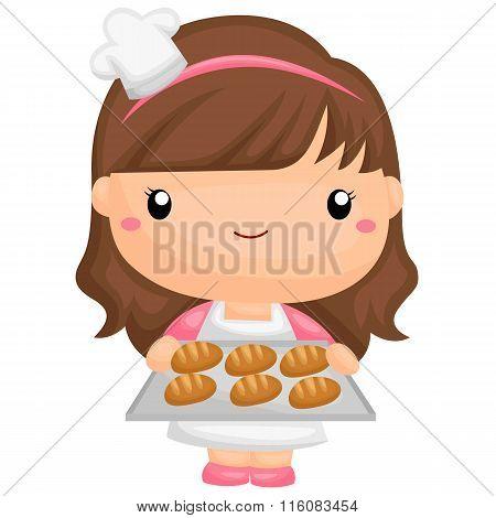 Cute Little Baker Girl