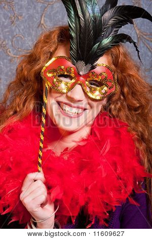 charming  merry  woman in a mask