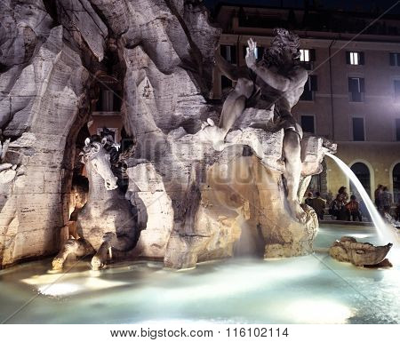 Four Rivers fountain, Rome.