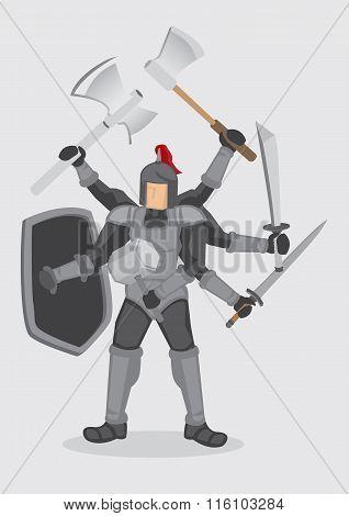 Superhuman Knight Warrior Cartoon Vector Illustration