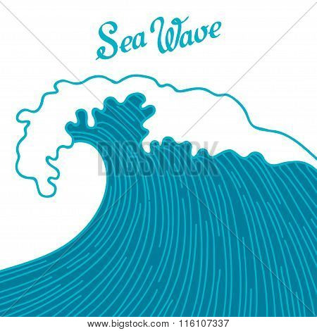 Sea background with abstract hand drawn waves. Template for invitation and greeting cards