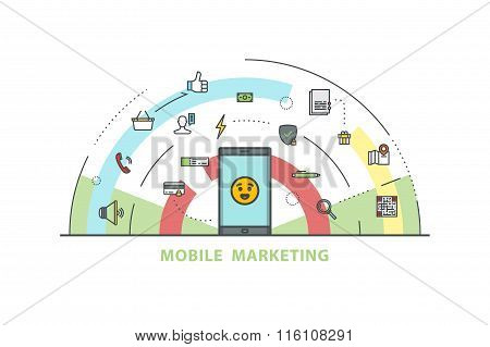 Line icons of online marketing. Stock vector.