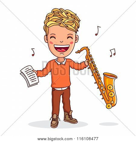 Kid Playing The Saxophone. Vector.
