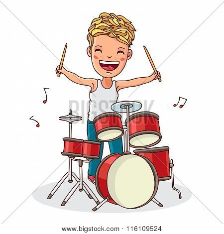 Kid Plays The Drums. Vector.