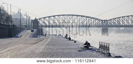 Prague city Czech Republic bank of river Vltava winter time