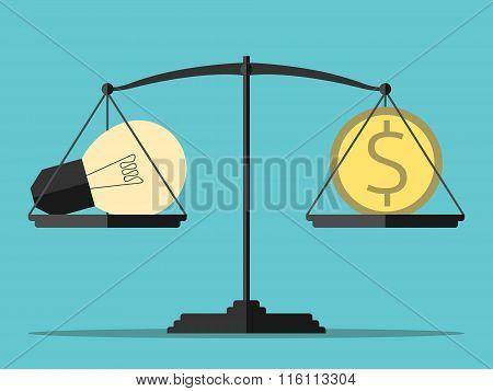 Light Bulb, Money, Balance