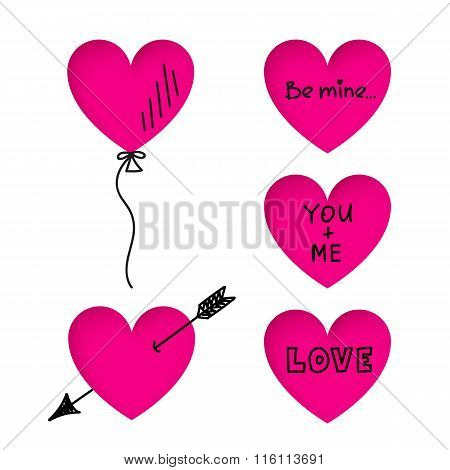 Valentine's Day Heart Stickers With Doodle Titles