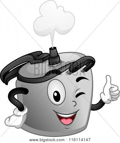 Mascot Illustration of a Pressure cooker while doing the okay sign