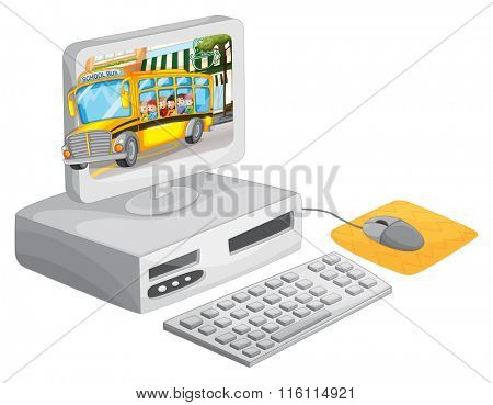 Computer screen with children on schoolbus illustration