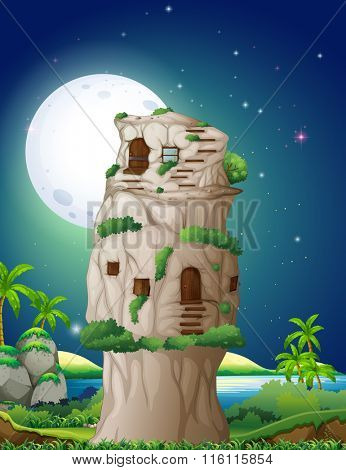 Stone house in fullmoon night illustration