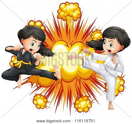 Two girl in kungfu outfit fighting illustration
