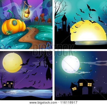 Four night scenes with fullmoon illustration
