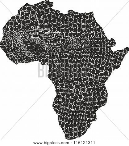Map of Africa in crocodile skin
