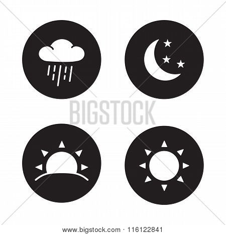 Time of day black silhouette icons