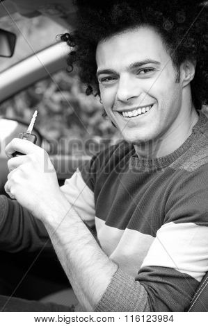 Happy Man In New Car With Key In Hand Black And White