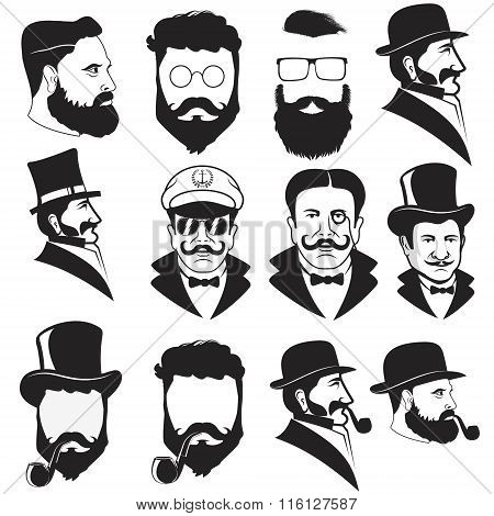Set Of Gentleman's Faces.