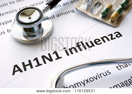 Paper with diagnosis AH1N1 influenza.