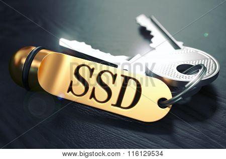 SSD written on Golden Keyring.