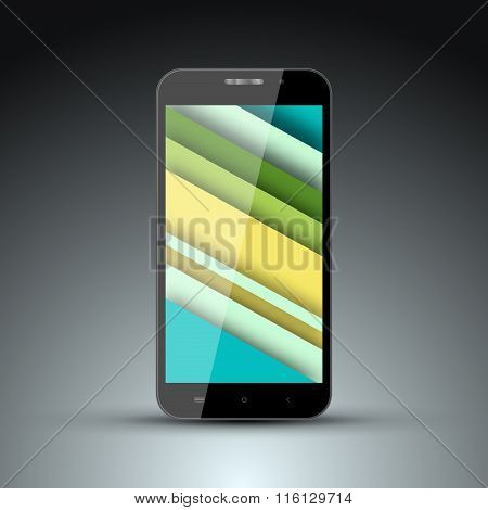 Realistic Model Of Mobile Phone With The Screen Saver On The Screen In The Style Of Materal Design.v