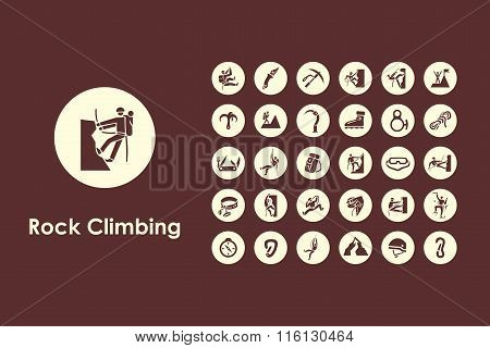 Set of rock climbing simple icons