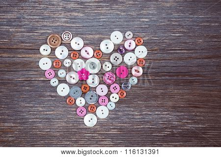 Colorful Buttons Heart On Old Wooden Background