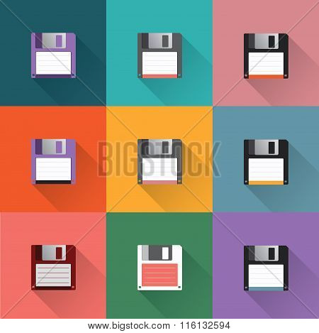 Floppy diskcs in dark bulue, blue,pink red,orange green,purple background