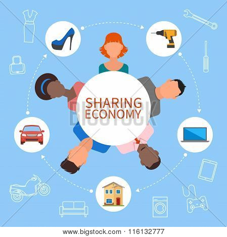 Sharing economy and smart consumption concept. Vector illustration in flat style. People save money,