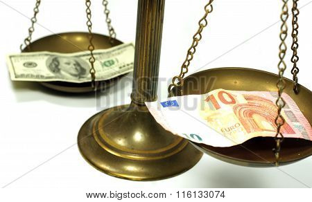 Dollar and Euro notes on scale