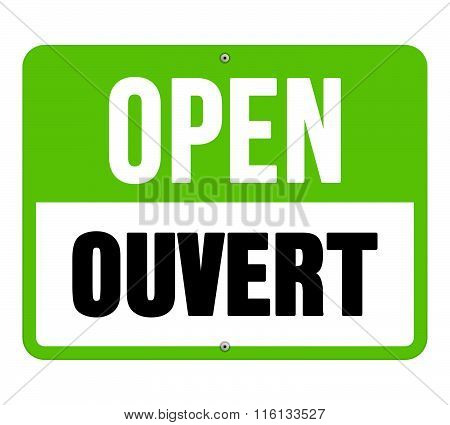 Ouvert Sign In Black And Green