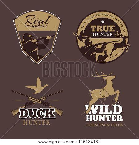 Retro color hunting labels set