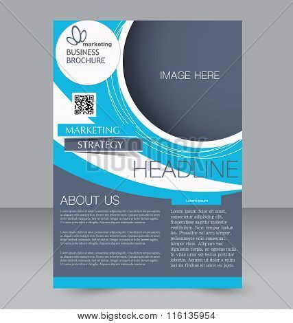 Flyer, brochure, magazine cover template design for education, presentation, website. Blue and grey