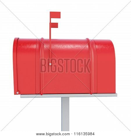 Red mailbox in profile on a white background. 3d rendering