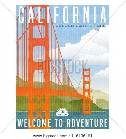 Retro style travel poster or sticker. United States, California, Golden Gate Bridge