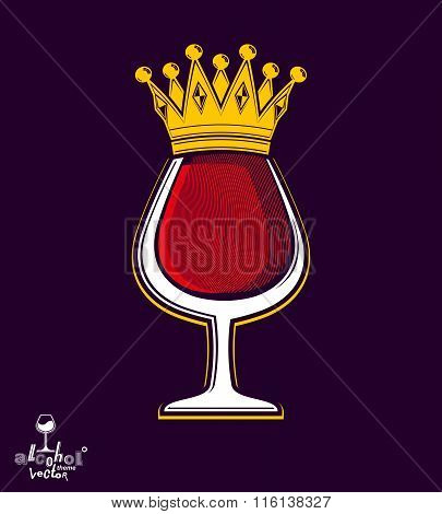 Sophisticated Luxury Wineglass With Golden Imperial Crown. Leisure And Lifestyle Theme Vector Goblet
