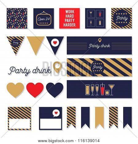Set of vector party decorative elements