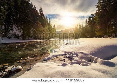 Frozen River In Forest At Sunset