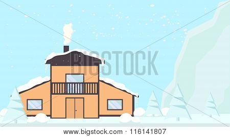 Mountain lodge. Winter landscape
