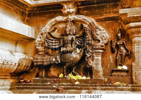 THANJAVUR, TAMILNADU/INDIA - January 25th, 2016 - Statue of God Skanda at Brihadeeswarar Temple