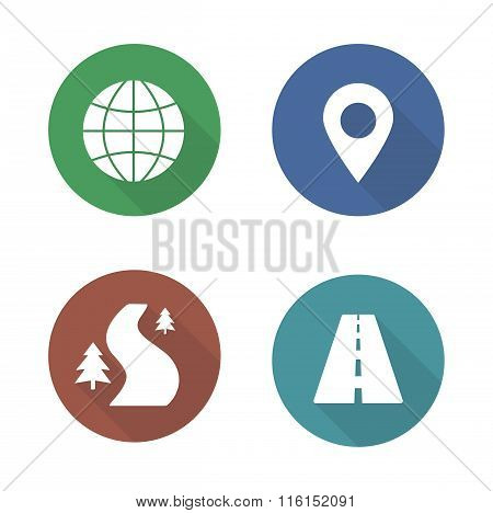 Map navigation flat design icons set