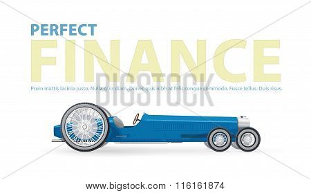 Perfect finance illustration with blue retro long car for notables.