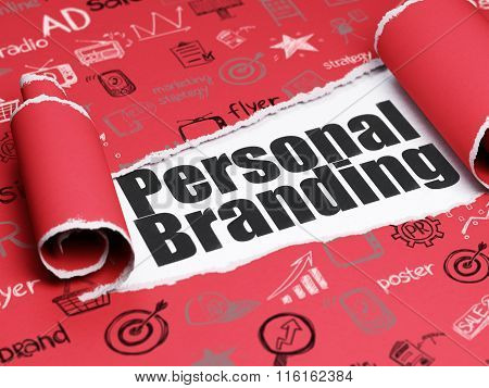 Marketing concept: black text Personal Branding under the piece of  torn paper