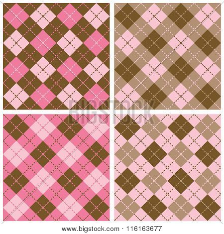 Plaid-argyle Pattern in Pink and Brown